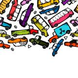 Toy cars collection, seamless pattern for your Royalty Free Stock Photos