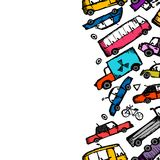 Toy cars collection, seamless pattern for your Royalty Free Stock Photography