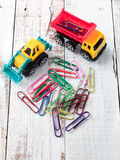 Toy cars with colorful clips Royalty Free Stock Images