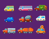 Toy Cars Colorful Different Service-Reeks royalty-vrije illustratie