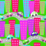 Toy Cars on Roads Seamless Background Royalty Free Stock Image