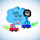 Toy cars white outline on a blue background. Vehicles travel. Sticker for children on the theme of the machine. Vector illustratio. Vehicles travel. Sticker for Stock Photo