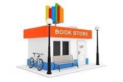 Toy Cartoon Book Shop- oder Buchladen-Gebäude-Fassade renderin 3D stock abbildung