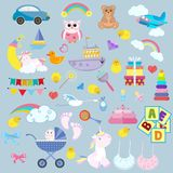 Toy cartoon kids baby. Child game childrens feet play childhood bear colorful vector illustration set kid. Collection baby carriage flat car tiny baby unicorn Royalty Free Stock Photos