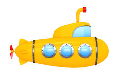 Toy Cartoon Styled Submarine. 3d Rendering. Toy Cartoon Styled Submarine on a white background. 3d Rendering royalty free illustration