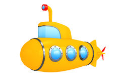 Toy Cartoon Styled Submarine framförande 3d Arkivbilder