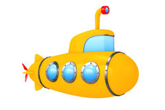 Toy Cartoon Styled Submarine framförande 3d Arkivfoto