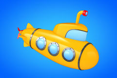 Toy Cartoon Styled Submarine framförande 3d Arkivfoton