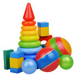 Toy castle from color blocks with beach ball Royalty Free Stock Photography