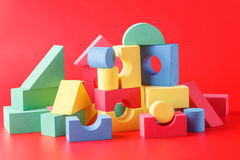 Toy castle from color blocks Royalty Free Stock Images
