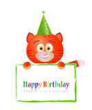 Toy cat with greeting card on birthday Stock Image