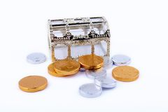 Toy chest and  chocolate coins Royalty Free Stock Photography