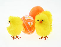 Toy chickens with decorated eggs Royalty Free Stock Photography