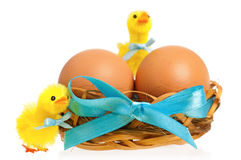 Toy chickens and nest with eggs Royalty Free Stock Images
