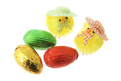 Toy Chicks and Easter Eggs Stock Photography