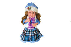 Toy for children - beautiful doll on a white background Royalty Free Stock Images