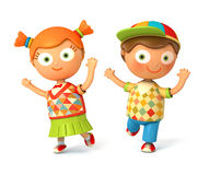 Toy children jumping. Back to School Royalty Free Stock Photo