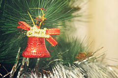Toy on the Christmas tree - Bell Royalty Free Stock Photo