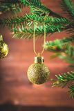 Toy on the Christmas tree branch Royalty Free Stock Images