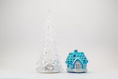 Toy Christmas tree near the house from a fairy tale Royalty Free Stock Photography