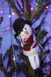 Toy on the Christmas tree. Snowman toy on the Christmas tree Stock Photos