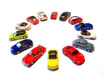 Toy circle. Toy cars making circle isolated Royalty Free Stock Image