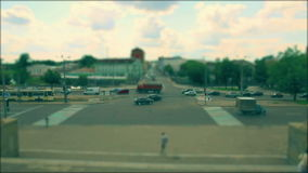 The toy city crossroad. Tilt shift stock footage
