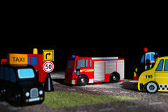 Toy city. This picture is taken indoors at artificial light of lamps and a softbox, the support is used Royalty Free Stock Photos