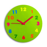 Toy Clock. Colorful and round toy clock isolated in white background Royalty Free Stock Photos