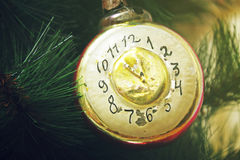 Toy 'clock'. On the Christmas tree Stock Photo