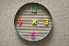 Toy clock made from magnetic digits Royalty Free Stock Images