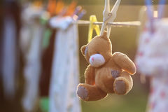 Toy clothesline clothespin. Sunset time in autumn Royalty Free Stock Image