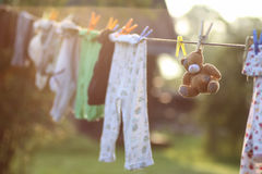 Toy clothesline clothespin. Various objects of the summer season in the best of this wonderful period Stock Photos
