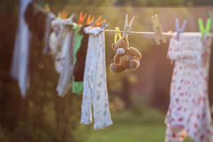 Toy clothesline clothespin. Various objects of the summer season in the best of this wonderful period Royalty Free Stock Photography