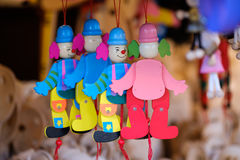 Toy clowns on sale at the market. Toy clowns on sale at the Christmas market Stock Photography