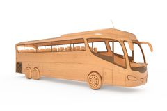 Toy Coach Tour Bus de madera abstracto representación 3d Fotos de archivo
