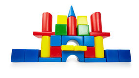 Toy color castle on white Stock Image