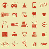 Toy color icons on yellow background Royalty Free Stock Photos