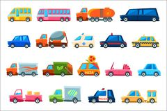Toy Colorful Different Service Cars Set. Different Toy Cars Set Of Bright Color Vehicles In Simple Childish Style Isolated royalty free illustration