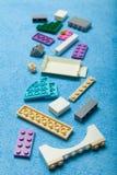 Toy colorful plastic blocks, vertical stock illustration