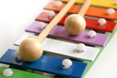 Toy colorful xylophone. Detail of toy colorful xylophone Stock Images