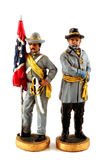 Toy Confederate Soldiers. Two vintage toy Confederate soldiers stock photo
