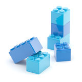 Toy construction brick blocks on white Royalty Free Stock Images