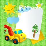 Toy construction machine paper postcard template Royalty Free Stock Image