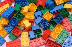 A toy construction set with many colorful building pieces Royalty Free Stock Photos