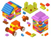 Toy Constructor Isometric Blocks vector illustration