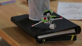 The Toy Constructor Toys. The toy constructor airplane on the table stock video