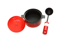 Toy cookware. Toy utensils. Royalty Free Stock Image