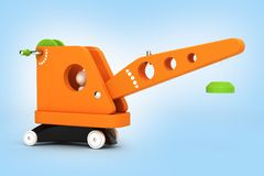 Toy crane on blue gradient background 3d vector illustration