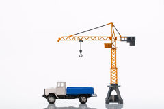 Toy crane and car Royalty Free Stock Photos